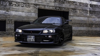 nissan, skyline, black
