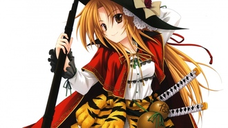 tora, anime, weapon, tiger, samurai, he mbition of da obuna, hat, girl, bishojo, rifle, da obuna o abou, gun, japanese, da obunaga