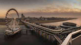 cheveningen, sunset, pier, etherlands