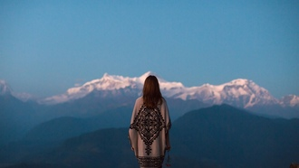 dusk, mountains, twilight, contemplation, girl