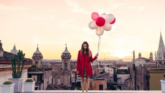taly, twilight, girl, sunset, dusk, roof, ome, balloons