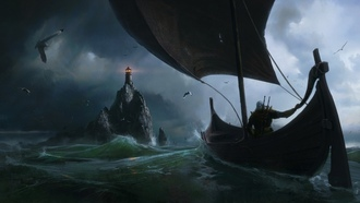 eremy aillotin, ames, antasy, sea, lighthouse, art, the witcher, ainting, boat