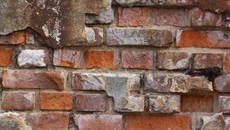 wall, brick, broken bricks, pattern, reboque