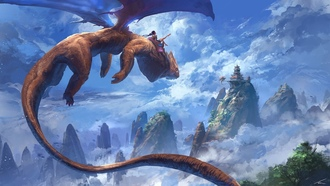 homas hamberlain een, dragon, artwork, clouds, painting, digital art, flying, fantasy art, peaks, girl, mountains, castle, wings, sky, fantasy