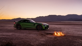 mercedes, green, supercar, мерседес, пустыня, суперкар