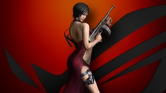 chinese, iohazard, da ong, pose, sus, thigh, asian, iohazard 4, weapon, gun, spy, brunette, oriental, og, esiden vil, dress, esident vil 4, waifu, game