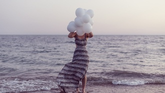 seaside, seascape, foam, waves, wind, twilight, ocean, girl, sea, dusk, beach, dress, horizon, balloons