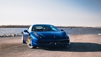 ferrari, blue, supercar, феррари, синий, суперкар