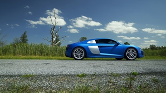 audi, blue, supercar, ауди, синий, суперкар, фары