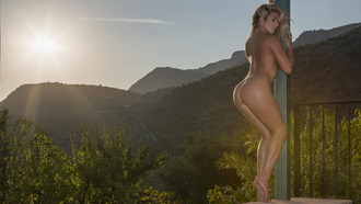 women, nude, ass, tanned, closed eyes, blonde, women outdoors, mountains, back