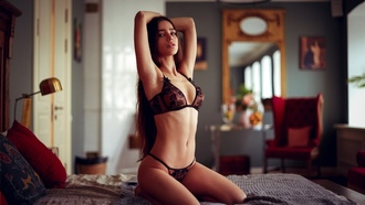 women, armpits, long hair, tanned, black lingerie, in bed, room, kneeling