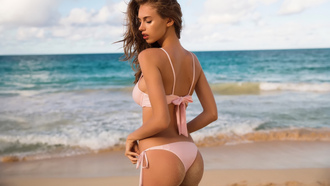 women, tanned, closed eyes, ass, sand, sea, back, sand covered, beach, women outdoors, pink bikinis