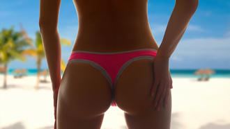 women, tanned, ass, palm trees, sand, beach, depth of field, back, thong, bikini, sea