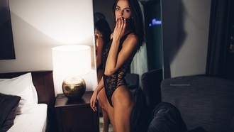 women, tanned, black lingerie, black hair, ass, skinny, lamp, mirror, reflection, pillow, bed