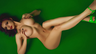 women, tanned, boobs, nipples, dyed hair, belly, high heels, hands on boobs, pierced nipples, top view, black nails, red lipstick, lying on back, green, nude