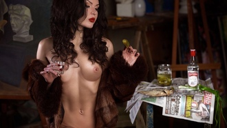 women, sitting, red nails, brunette, belly, fur, red lipstick, nude, boobs, nipples, looking away