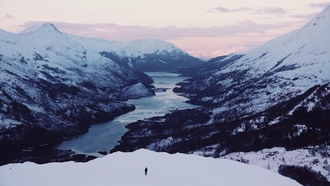 winter, lake, person, mountains, sunset