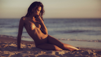 women, tanned, sand, nude, belly, pierced navel, boobs, nipples, sea, sitting, women outdoors, closed eyes, depth of field