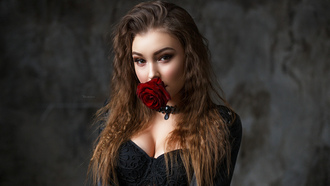 women, aksim omanov, rose, portrait, choker, face