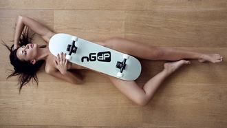 women, top view, ngelina etrova, skateboard, nude, brunette, strategic covering, lying on back, armpits, on the floor