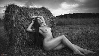 women, nude, monochrome, boobs, nipples, long hair, sitting, women outdoors, grass, hay, closed eyes, ass