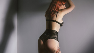 women, black lingerie, redhead, ass, back, shadow, tattoo, looking away, wall, red nails