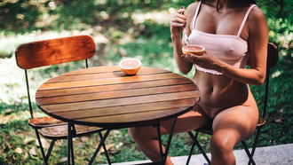 women, table, nipple through clothing, tanned, chair, sitting, depth of field, belly, anlines