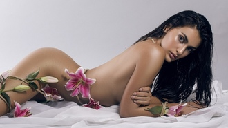 women, tanned, ass, simple background, black hair, flowers, lying on front, wet hair, ropes