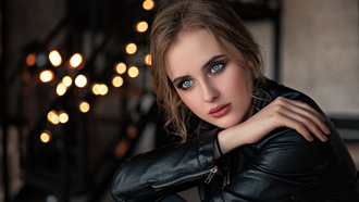 women, portrait, leather jackets, bokeh, blue eyes