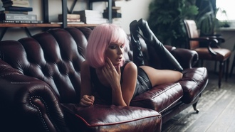 women, wigs, pink hair, monokinis, tanned, kneehigh boots, couch, ass, lying on front, plants, books