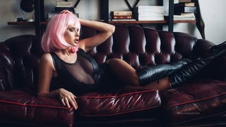 women, wigs, pink hair, monokinis, tanned, kneehigh boots, couch, closed eyes, books