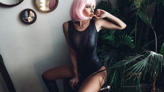 women, wigs, pink hair, monokinis, tanned, kneehigh boots, sitting, finger on lips, looking away, plants
