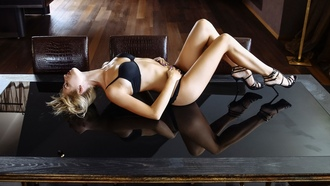 women, blonde, black lingerie, lying on back, high heels, table, chair, closed eyes, red lipstick, brunette