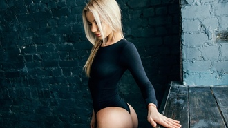 women, blonde, ass, leotard, tanned, wall, bricks, portrait