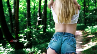 women, trees, ass, back, jean shorts, the gap, brunette, depth of field, blonde