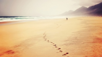trail, ocean, waves, sand, seaside, sea, beach, footprints, man, hills