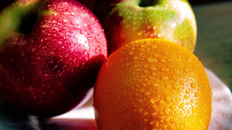 fruits, apple, orange, dew