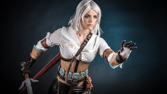 belt, strong, book, cosplay, blonde, pose, scar, blade, etflix, gloves, iri or the ion ub of intra, he itcher 3 ild unt, ciri, blood