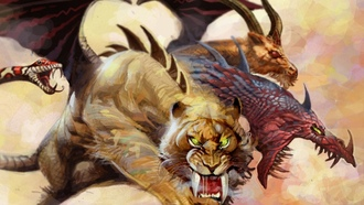 tora, scales, dragon, claws, tiger, predator, monster, lion, mythology, chimera, goat, snake, tusks, wings