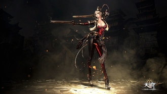 fire, rock, blonde, hat, blade, shotgun, oppai, evelation nline, warrior, online, pistol, gun, weapon, dust, ken, sword, woman, girl, chinese game, flame, spark, red, game