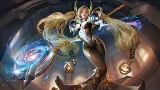 stars, game, scepter, artwork, galaxy, braids, digital art, girl, blonde, ainglory, long hair, magic, eleste, fantasy