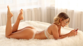 women, lingerie, blonde, ass, in bed, cellphone, women with glasses