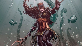 fantasy, comics, fish, mask, bandage, fantasy art, atwoman, superhero, underwater, drowned, dark multiverse, omics, artwork