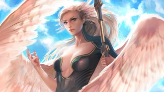 chest, blue eyes, artwork, feathers, fantasy, fantasy art, girl, blonde, breast, magic, spear, wings, ngel, cleavage