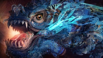 antasy, rendering, colorful, texture, eye, sychedelic, colors, digital art, abstract, jaws, dragon, artwork