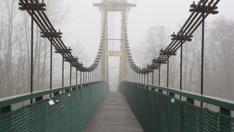 bridge, fog