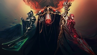 skull, sword, spear, horns, armor, red eyes, fantasy, scepter, hood, artwork, cape, arriors, magician, digital art, fantasy art, helmet, skeleton, dark