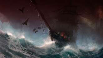 ailboat, stormy sea, artwork, bats, painting, storm, digital art, dark, ship, sea, art, rain, sail, fantasy