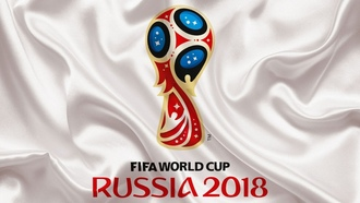 ussia 2018, official logo, sport, football, white background, orld up, orld up, ussia, socce