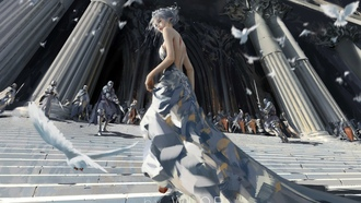 architecture, bare back, birds, long hair, fantasy art, lop, digital art, bare shoulders, knights, elf, artwork, swords